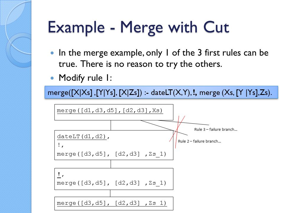 Example - Merge with Cut In the merge example, only 1 of the 3 first rules can be true.