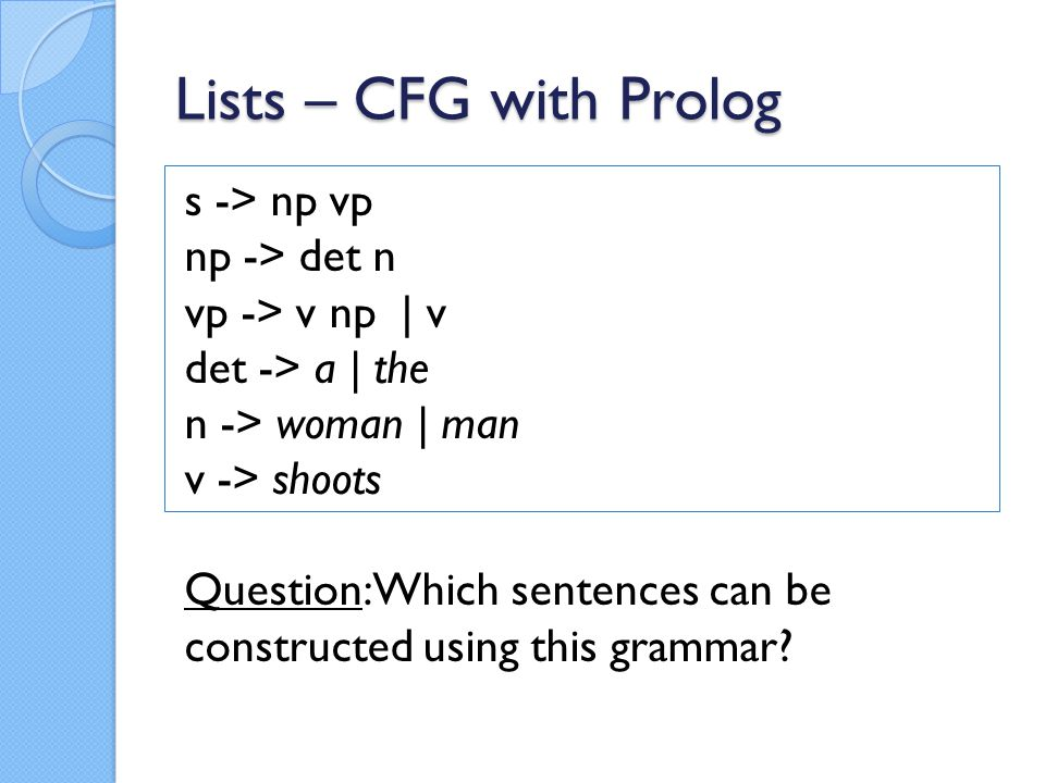 Lists – CFG with Prolog Lets make relations out of it: s(Z) :- np(X), vp(Y), append(X,Y,Z).