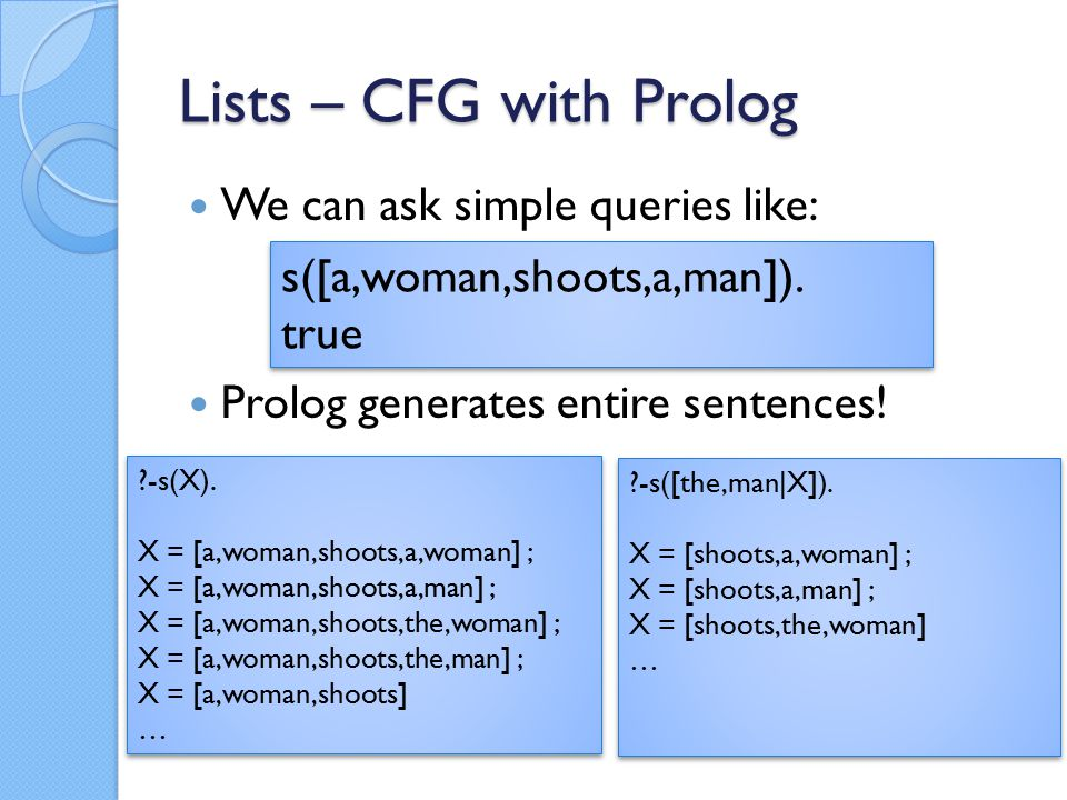 Lists – CFG with Prolog We can ask simple queries like: Prolog generates entire sentences.
