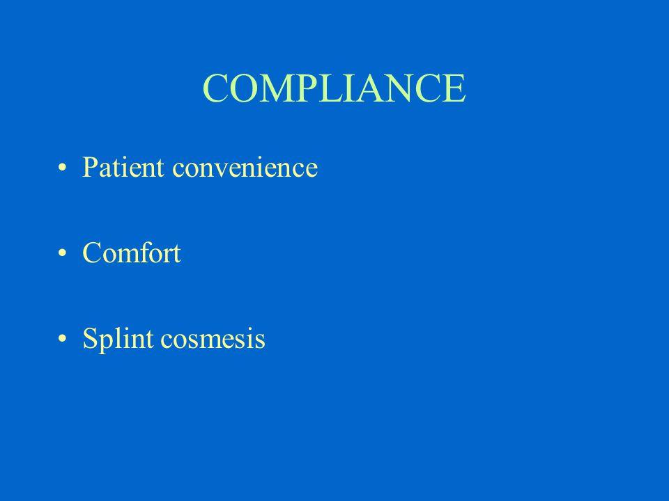 COMPLIANCE Patient convenience Comfort Splint cosmesis
