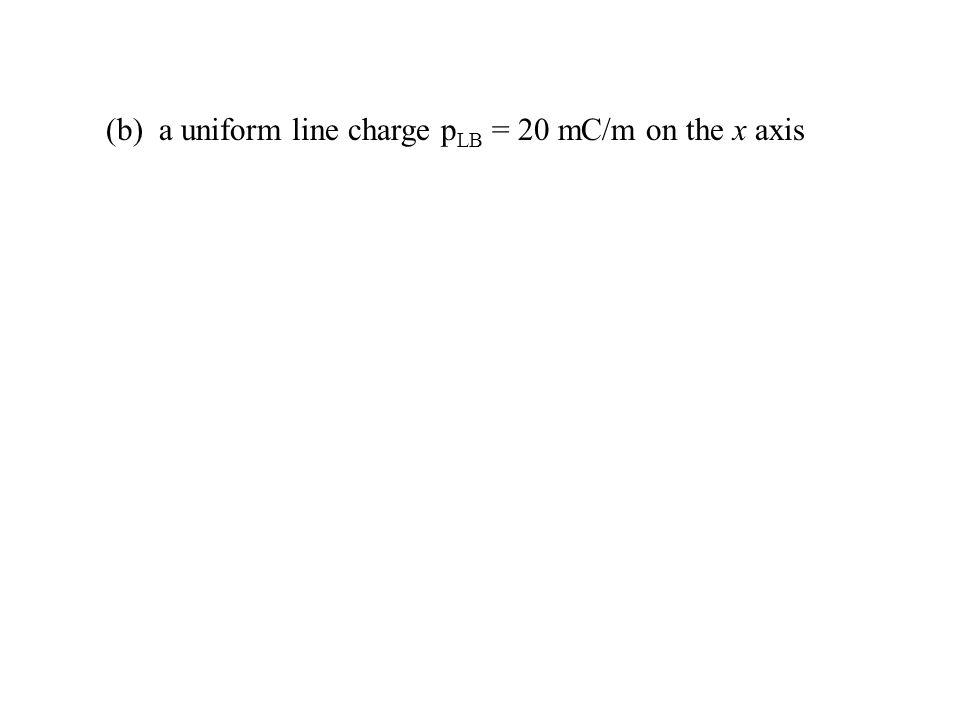 (b) a uniform line charge p LB = 20 mC/m on the x axis