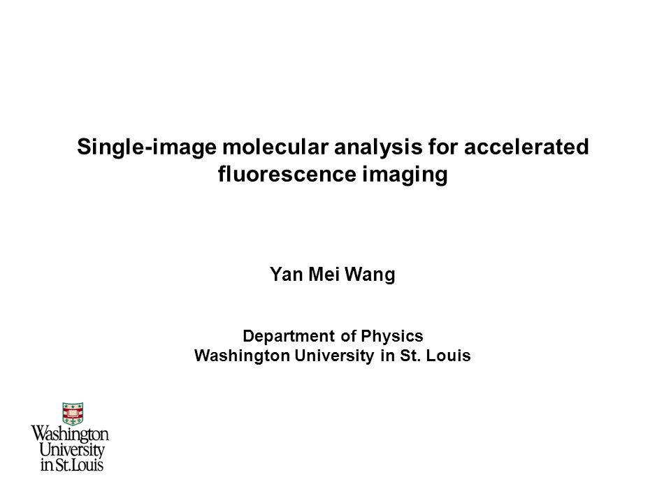 Single-image molecular analysis for accelerated fluorescence imaging Yan Mei Wang Department of Physics Washington University in St.