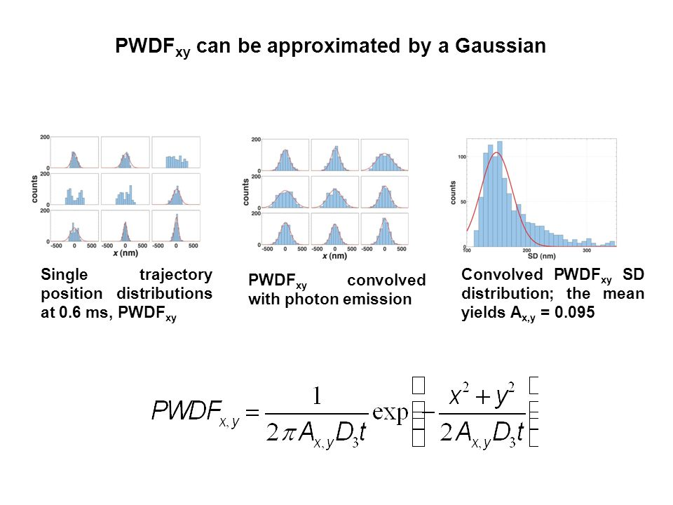 PWDF xy can be approximated by a Gaussian Convolved PWDF xy SD distribution; the mean yields A x,y = Single trajectory position distributions at 0.6 ms, PWDF xy PWDF xy convolved with photon emission