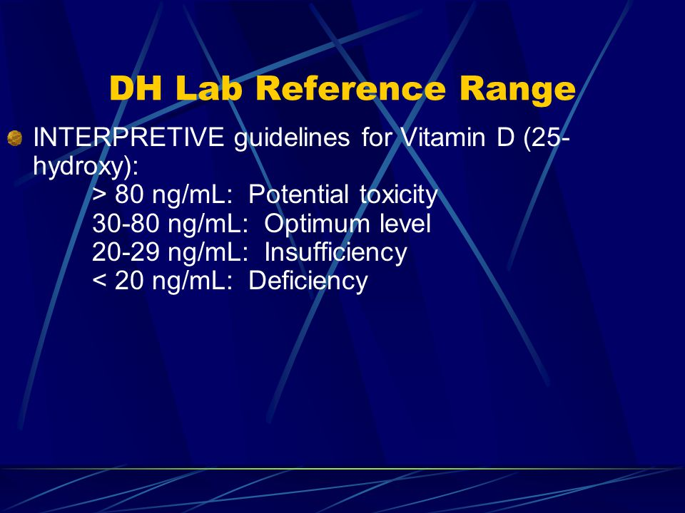 DH Lab Reference Range INTERPRETIVE guidelines for Vitamin D (25- hydroxy): > 80 ng/mL: Potential toxicity 30-80 ng/mL: Optimum level 20-29 ng/mL: Insufficiency < 20 ng/mL: Deficiency