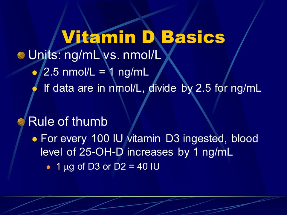 Vitamin D Basics Units: ng/mL vs.