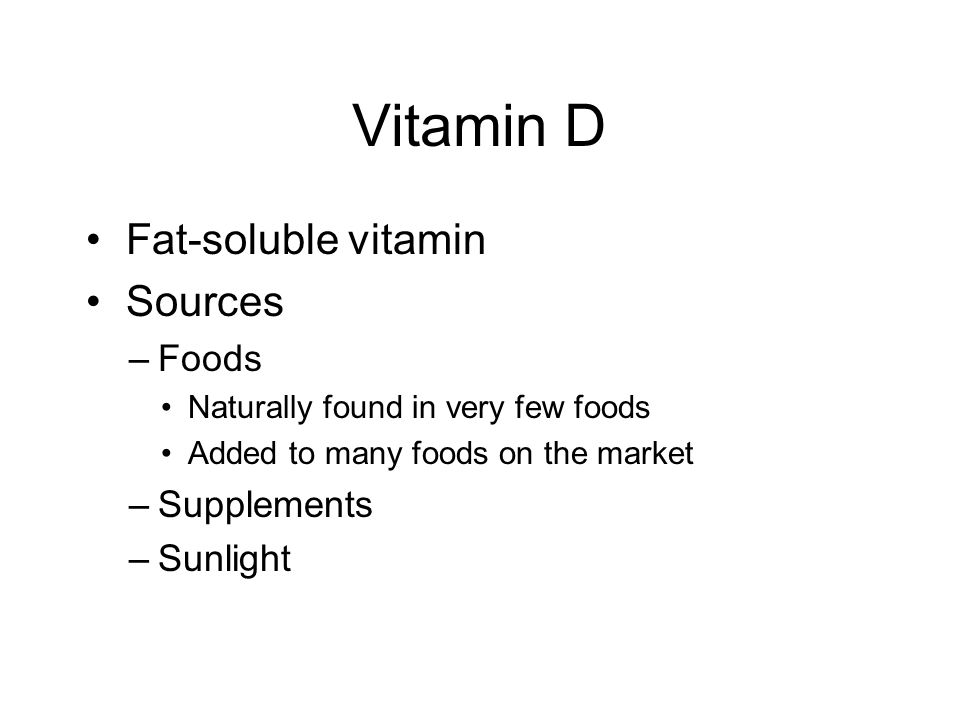 Vitamin D Functions Many uses in the body –Promotes absorption of calcium from the small intestine –Maintain blood levels of calcium and phosphate for bone formation, mineralization, growth, and repair –Improves muscle strength and immune function –Reduces inflammation