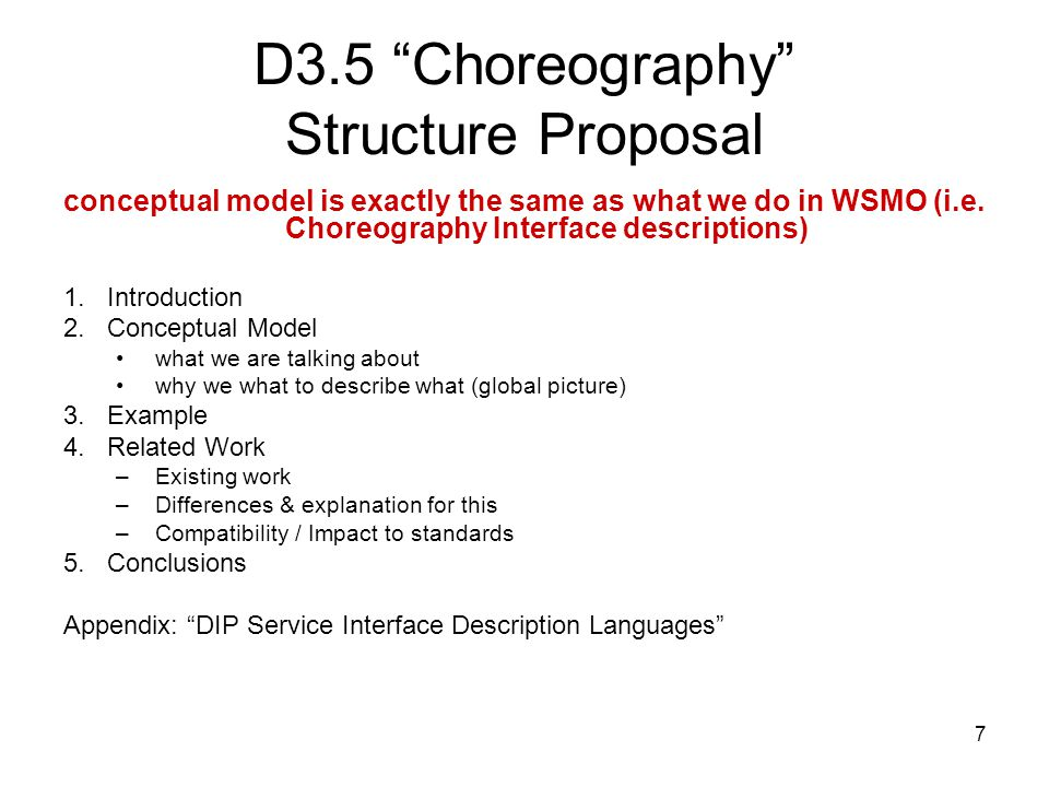 7 D3.5 Choreography Structure Proposal conceptual model is exactly the same as what we do in WSMO (i.e.