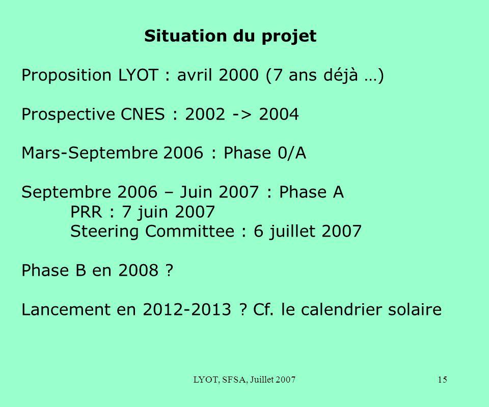 LYOT, SFSA, Juillet 200715 Situation du projet Proposition LYOT : avril 2000 (7 ans déjà …) Prospective CNES : 2002 -> 2004 Mars-Septembre 2006 : Phase 0/A Septembre 2006 – Juin 2007 : Phase A PRR : 7 juin 2007 Steering Committee : 6 juillet 2007 Phase B en 2008 .