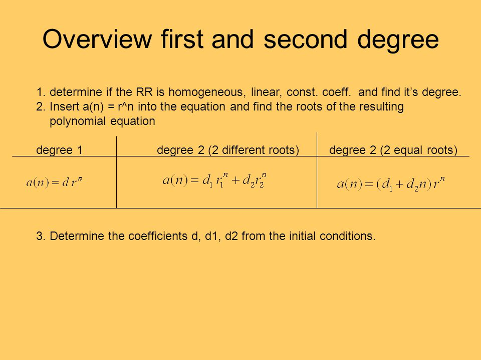 Overview first and second degree 1. determine if the RR is homogeneous, linear, const. coeff. and find it's degree. 2. Insert a(n) = r^n into the equa