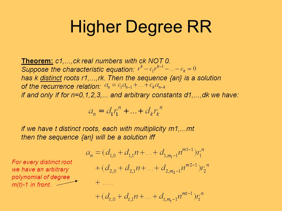 Higher Degree RR Theorem: c1,...,ck real numbers with ck NOT 0. Suppose the characteristic equation: has k distinct roots r1,...,rk. Then the sequence
