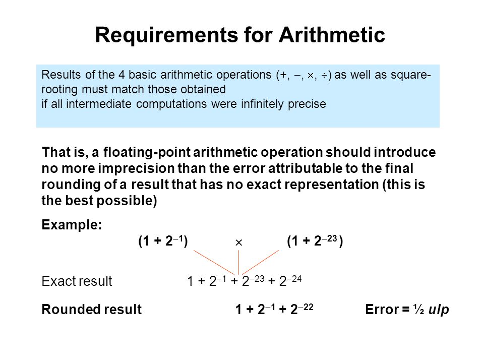 Requirements for Arithmetic Results of the 4 basic arithmetic operations (+, , ,  ) as well as square- rooting must match those obtained if all intermediate computations were infinitely precise That is, a floating-point arithmetic operation should introduce no more imprecision than the error attributable to the final rounding of a result that has no exact representation (this is the best possible) Example: (1 + 2  1 )  (1 + 2  23 ) Rounded result1 + 2   22 Error = ½ ulp Exact result1 + 2    24