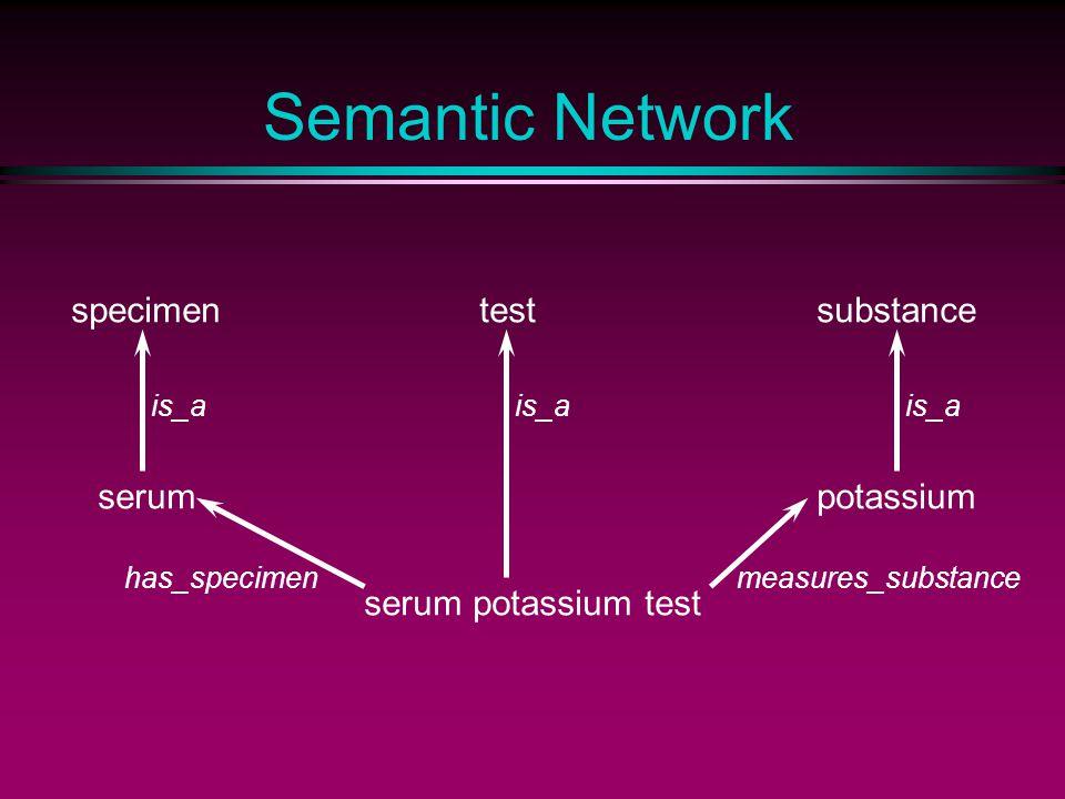 Semantic Network serum potassium test testspecimensubstance is_a serumpotassium has_specimenmeasures_substance