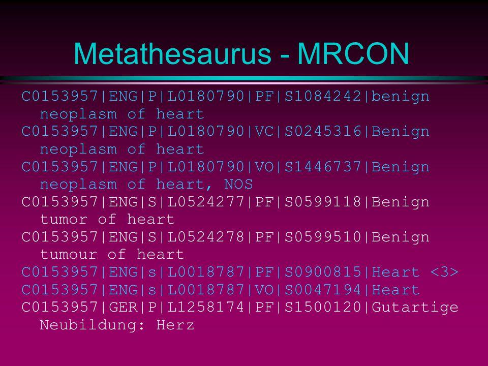 Metathesaurus - MRCON C0153957|ENG|P|L0180790|PF|S1084242|benign neoplasm of heart C0153957|ENG|P|L0180790|VC|S0245316|Benign neoplasm of heart C0153957|ENG|P|L0180790|VO|S1446737|Benign neoplasm of heart, NOS C0153957|ENG|S|L0524277|PF|S0599118|Benign tumor of heart C0153957|ENG|S|L0524278|PF|S0599510|Benign tumour of heart C0153957|ENG|s|L0018787|PF|S0900815|Heart C0153957|ENG|s|L0018787|VO|S0047194|Heart C0153957|GER|P|L1258174|PF|S1500120|Gutartige Neubildung: Herz