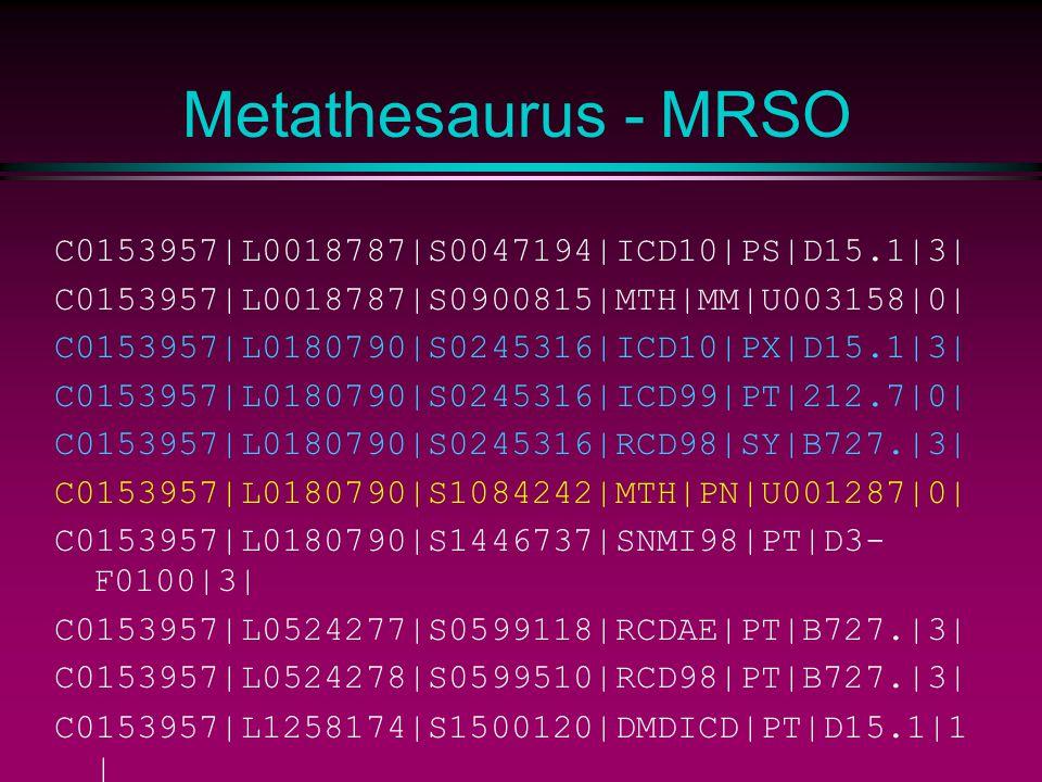 Metathesaurus - MRSO C0153957|L0018787|S0047194|ICD10|PS|D15.1|3| C0153957|L0018787|S0900815|MTH|MM|U003158|0| C0153957|L0180790|S0245316|ICD10|PX|D15.1|3| C0153957|L0180790|S0245316|ICD99|PT|212.7|0| C0153957|L0180790|S0245316|RCD98|SY|B727.|3| C0153957|L0180790|S1084242|MTH|PN|U001287|0| C0153957|L0180790|S1446737|SNMI98|PT|D3- F0100|3| C0153957|L0524277|S0599118|RCDAE|PT|B727.|3| C0153957|L0524278|S0599510|RCD98|PT|B727.|3| C0153957|L1258174|S1500120|DMDICD|PT|D15.1|1 |