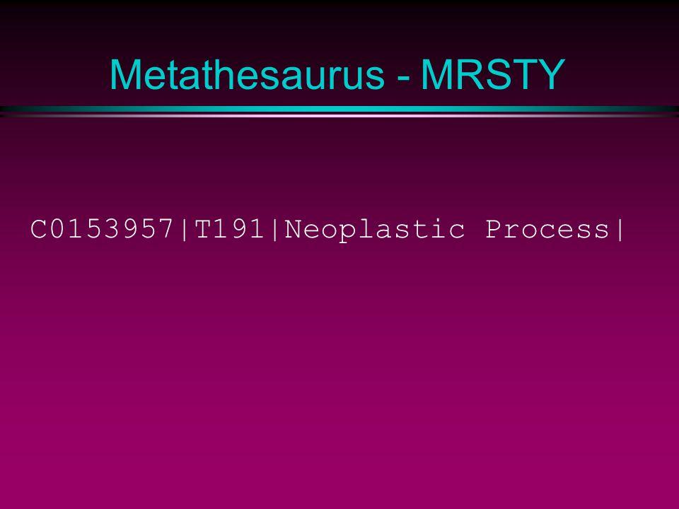 Metathesaurus - MRSTY C0153957|T191|Neoplastic Process|