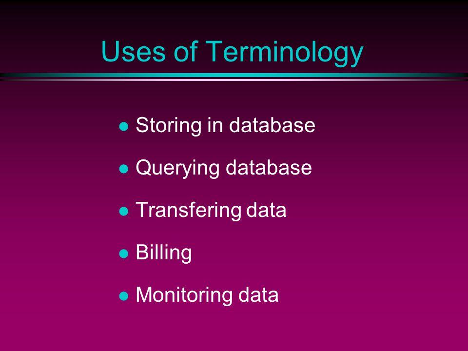 Uses of Terminology Storing in database Querying database Transfering data Billing Monitoring data