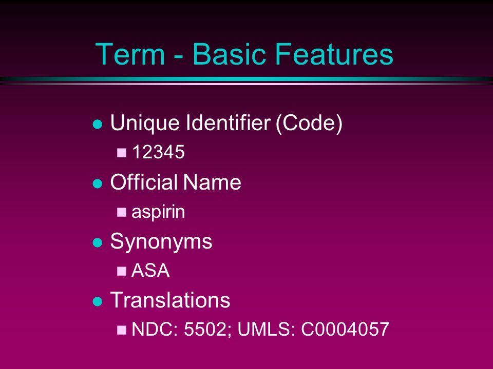 Term - Advanced Features Classes antipyretic, anti-inflammatory, analgesic Semantic Links CAUSES: gastritis TREATS: arthritis Attributes UNITS: mg