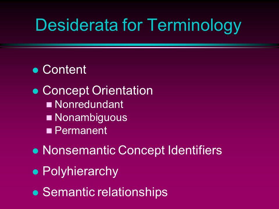 Desiderata for Terminology Content Concept Orientation Nonredundant Nonambiguous Permanent Nonsemantic Concept Identifiers Polyhierarchy Semantic relationships
