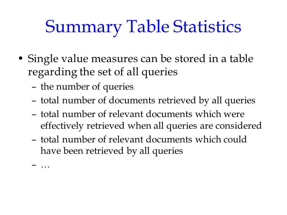 Summary Table Statistics Single value measures can be stored in a table regarding the set of all queries –the number of queries –total number of documents retrieved by all queries –total number of relevant documents which were effectively retrieved when all queries are considered –total number of relevant documents which could have been retrieved by all queries –…