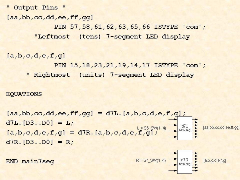 Output Pins [aa,bb,cc,dd,ee,ff,gg] PIN 57,58,61,62,63,65,66 ISTYPE com ; Leftmost (tens) 7-segment LED display [a,b,c,d,e,f,g] PIN 15,18,23,21,19,14,17 ISTYPE com ; Rightmost (units) 7-segment LED display EQUATIONS [aa,bb,cc,dd,ee,ff,gg] = d7L.[a,b,c,d,e,f,g]; d7L.[D3..D0] = L; [a,b,c,d,e,f,g] = d7R.[a,b,c,d,e,f,g]; d7R.[D3..D0] = R; END main7seg