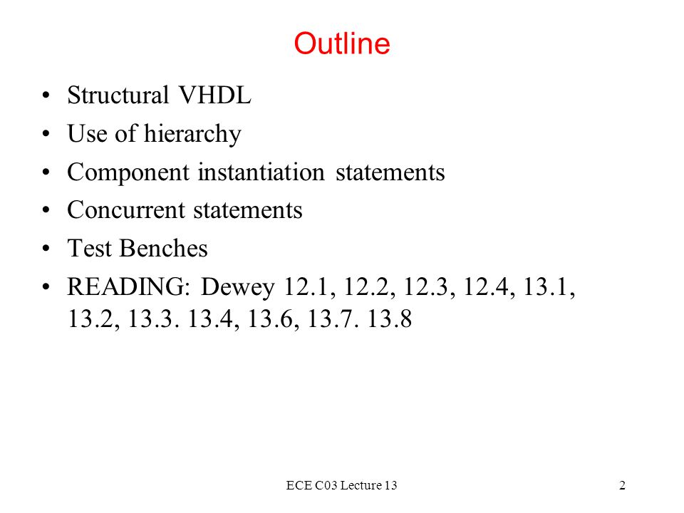 ECE C03 Lecture 1323 Alternative Architecture Bodies Three different VHDL descriptions of the even parity generator were shown They have the same interface but three different implementation Use the same entity description but different architecture bodies architecture DATA_FLOW of EVEN_PARITY is...