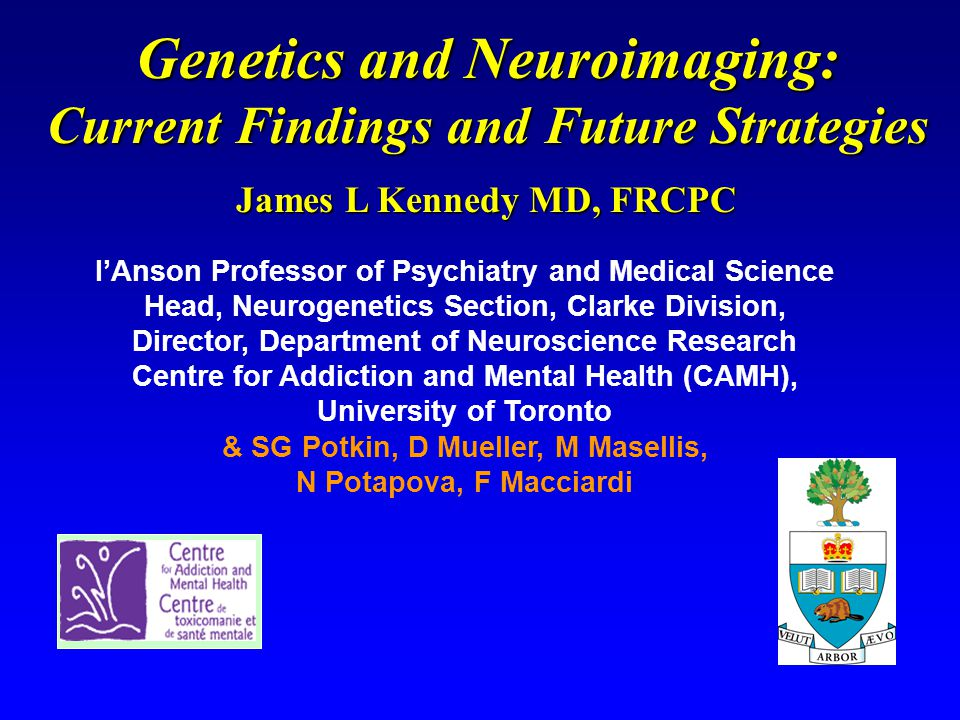 James L Kennedy MD, FRCPC I'Anson Professor of Psychiatry and Medical Science Head, Neurogenetics Section, Clarke Division, Director, Department of Neuroscience Research Centre for Addiction and Mental Health (CAMH), University of Toronto & SG Potkin, D Mueller, M Masellis, N Potapova, F Macciardi Genetics and Neuroimaging: Current Findings and Future Strategies