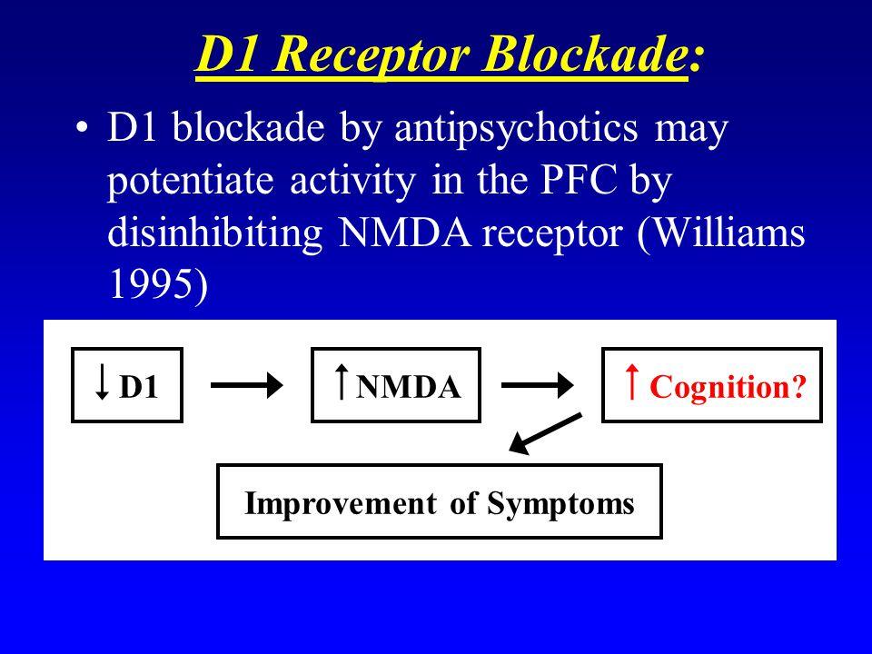D1 Receptor Blockade: D1 blockade by antipsychotics may potentiate activity in the PFC by disinhibiting NMDA receptor (Williams 1995) D1 NMDA Cognitio