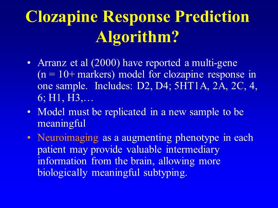 Clozapine Response Prediction Algorithm? Arranz et al (2000) have reported a multi-gene (n = 10+ markers) model for clozapine response in one sample.