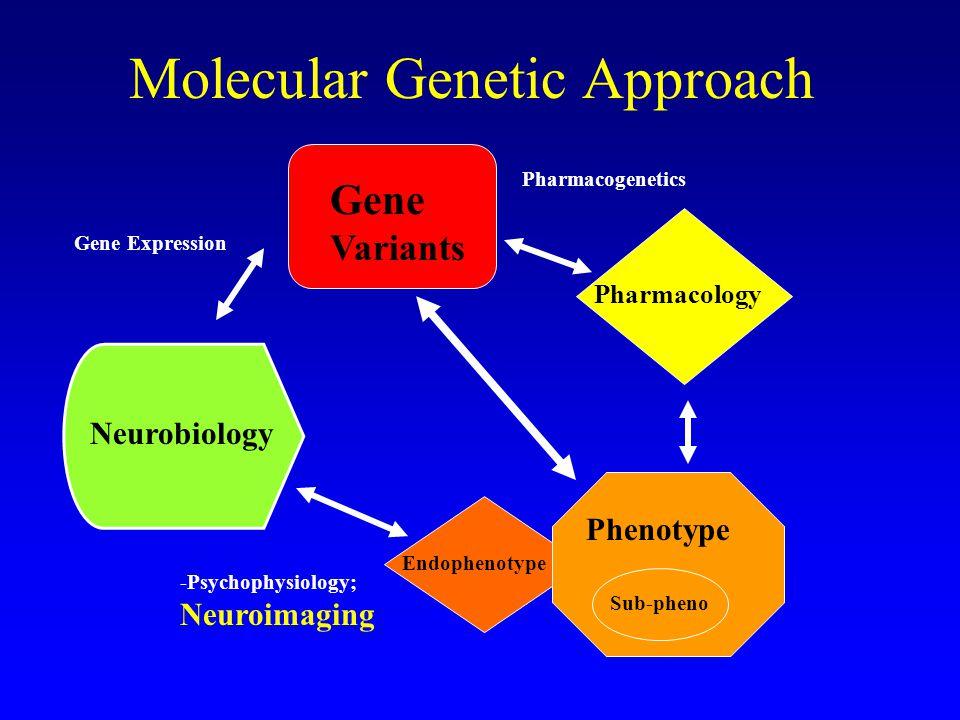 Molecular Genetic Approach Gene Variants Pharmacology Phenotype Sub-pheno Endophenotype Neurobiology Pharmacogenetics Gene Expression -Psychophysiolog
