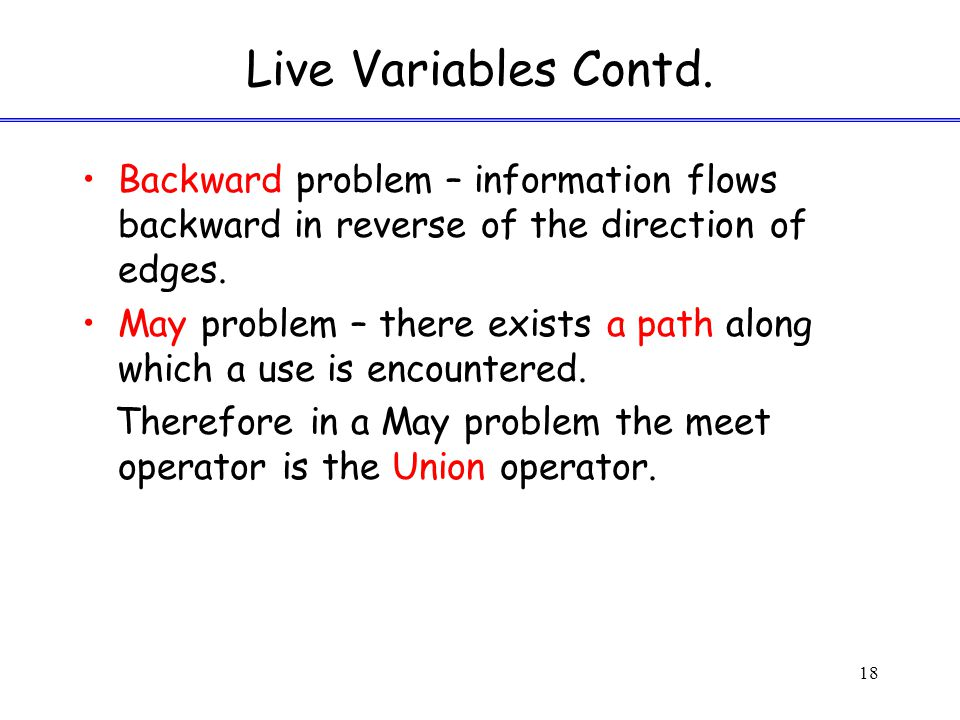 Live Variables Contd.