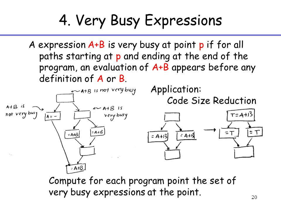4. Very Busy Expressions A expression A+B is very busy at point p if for all paths starting at p and ending at the end of the program, an evaluation o