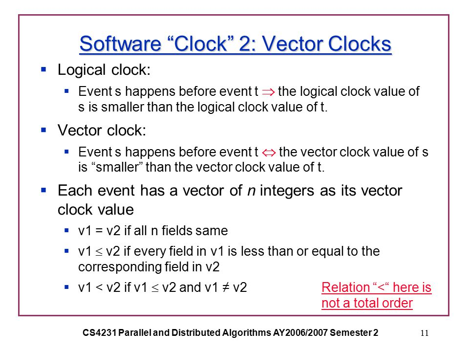 CS4231 Parallel and Distributed Algorithms AY2006/2007 Semester 211 Software Clock 2: Vector Clocks  Logical clock:  Event s happens before event t  the logical clock value of s is smaller than the logical clock value of t.