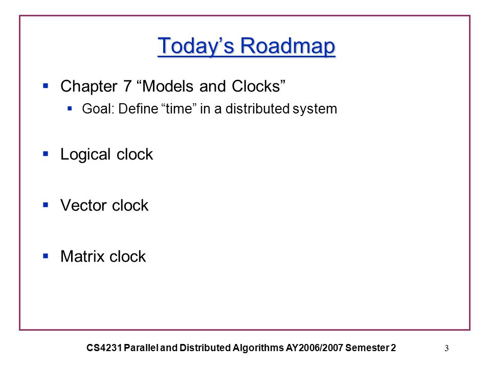 CS4231 Parallel and Distributed Algorithms AY2006/2007 Semester 23 Today's Roadmap  Chapter 7 Models and Clocks  Goal: Define time in a distributed system  Logical clock  Vector clock  Matrix clock
