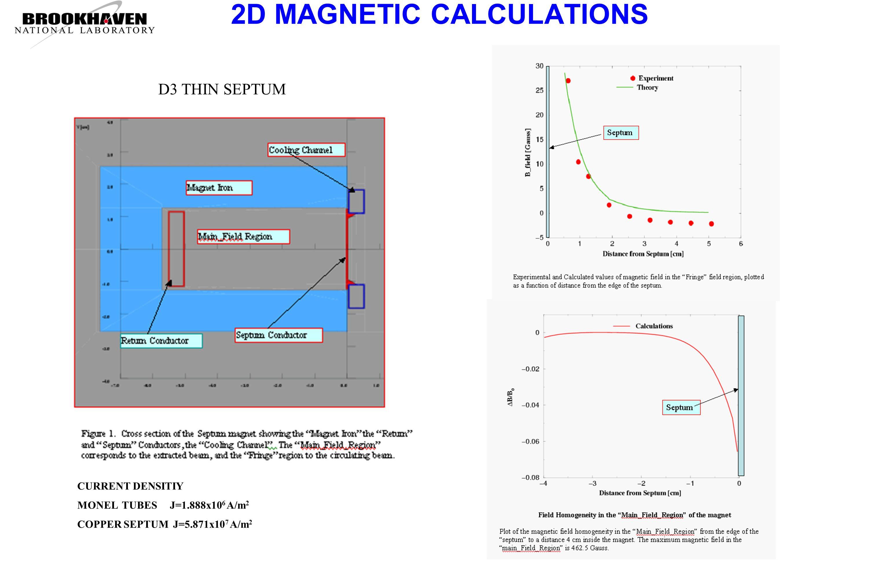 2D MAGNETIC CALCULATIONS CURRENT DENSITIY MONEL TUBES J=1.888x10 6 A/m 2 COPPER SEPTUM J=5.871x10 7 A/m 2 D3 THIN SEPTUM