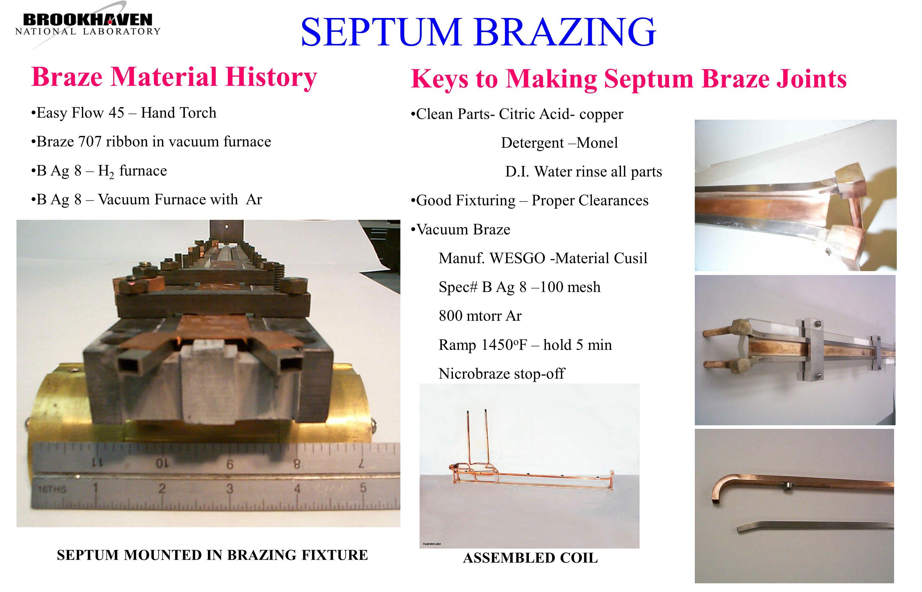 Keys to Making Septum Braze Joints Clean Parts- Citric Acid- copper Detergent –Monel D.I.