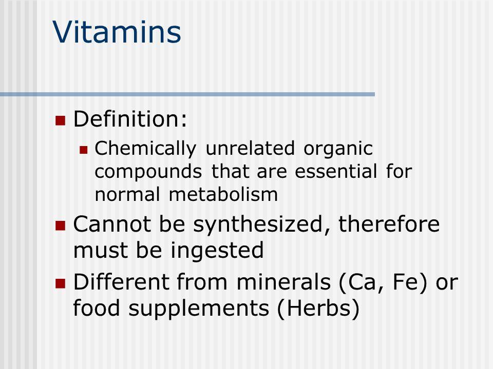 Vitamins Vitamin A, D, E, K Vitamin C and the B vitamins B1-Thiamine Riboflavin B3-Niacin Pantothenic acid Biotin B6-pyridoxine B12 folate