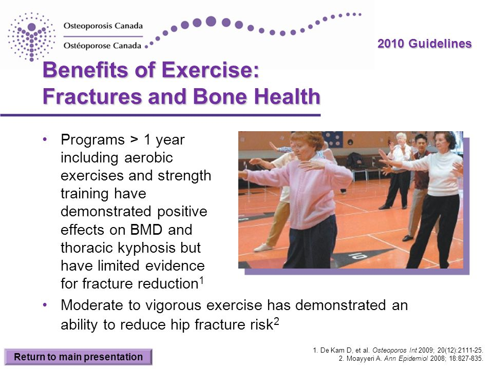 2010 Guidelines Benefits of Exercise: Fractures and Bone Health Programs > 1 year including aerobic exercises and strength training have demonstrated