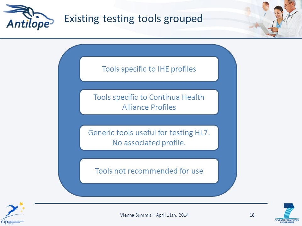Existing testing tools grouped Tools specific to IHE profiles Tools specific to Continua Health Alliance Profiles Generic tools useful for testing HL7