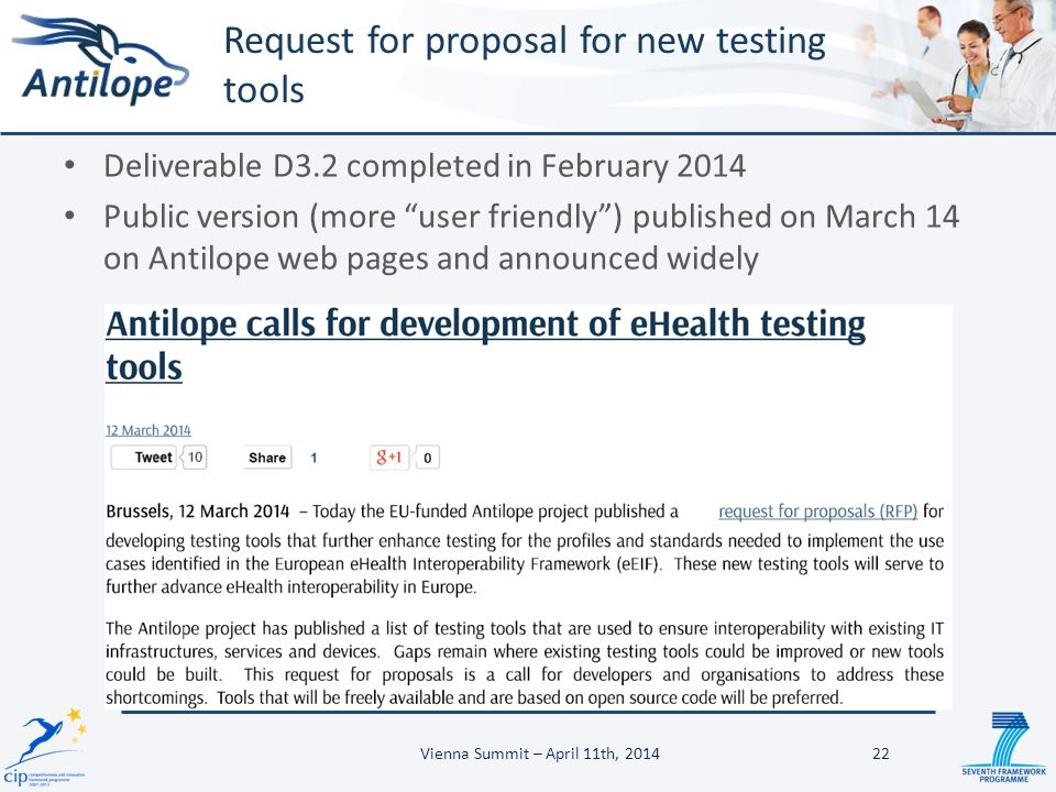 """Deliverable D3.2 completed in February 2014 Public version (more """"user friendly"""") published on March 14 on Antilope web pages and announced widely Req"""