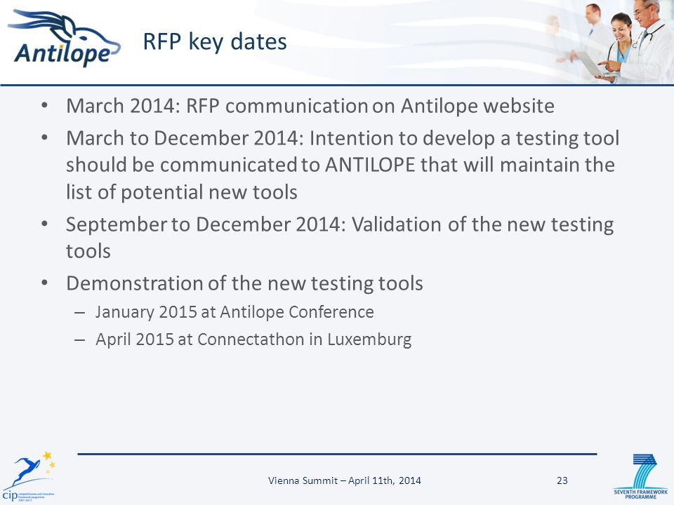March 2014: RFP communication on Antilope website March to December 2014: Intention to develop a testing tool should be communicated to ANTILOPE that