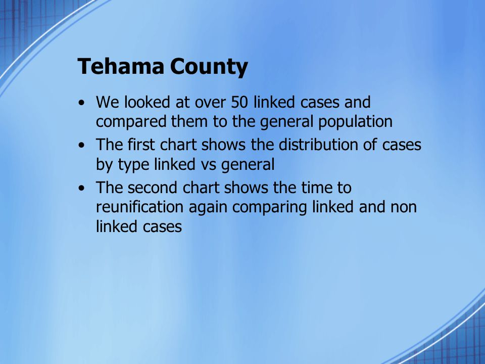 Tehama County We looked at over 50 linked cases and compared them to the general population The first chart shows the distribution of cases by type linked vs general The second chart shows the time to reunification again comparing linked and non linked cases