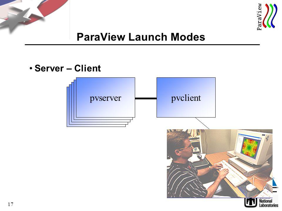 17 Server – Client ParaView Launch Modes pvclient pvserver