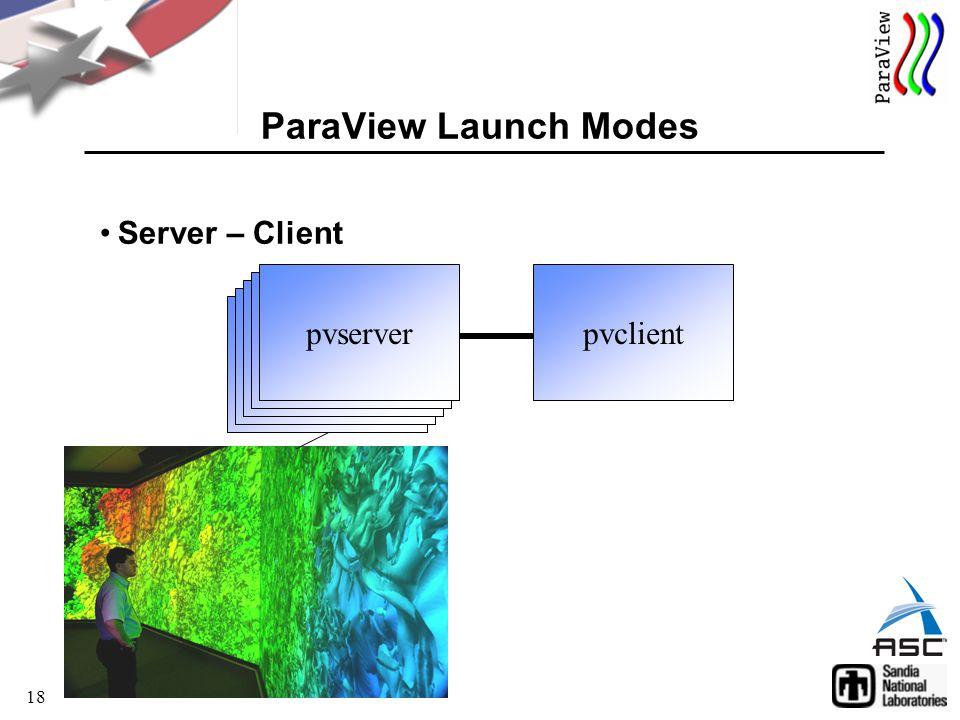 18 Server – Client ParaView Launch Modes pvclient pvserver