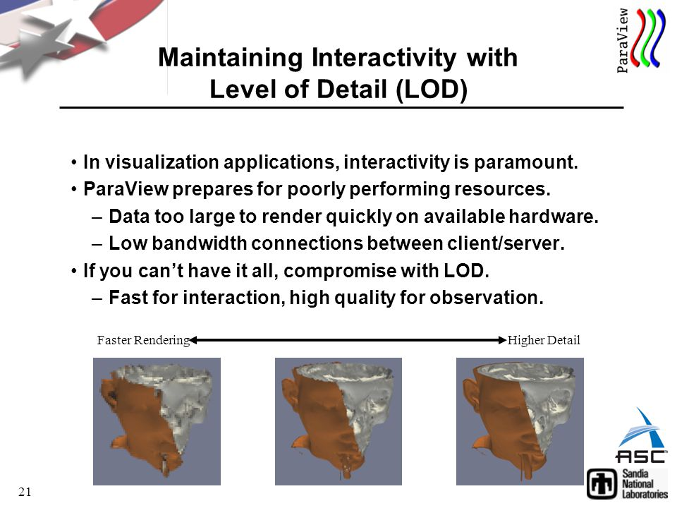 21 Maintaining Interactivity with Level of Detail (LOD) In visualization applications, interactivity is paramount.