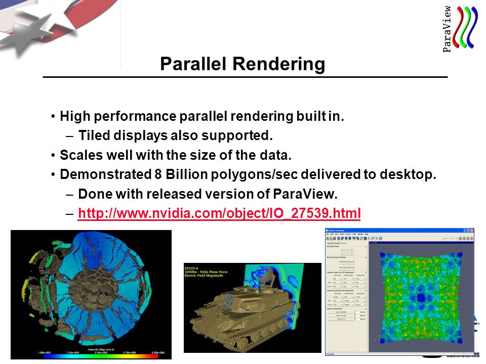 22 Parallel Rendering High performance parallel rendering built in.