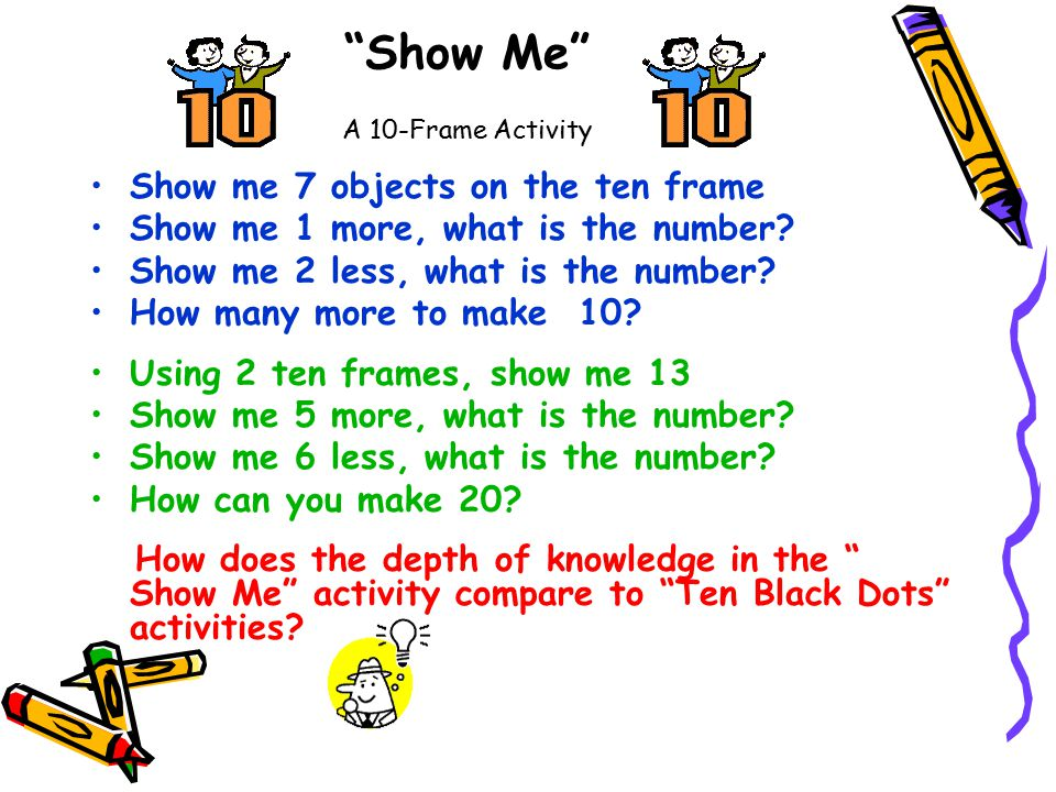 Show Me A 10-Frame Activity Show me 7 objects on the ten frame Show me 1 more, what is the number.