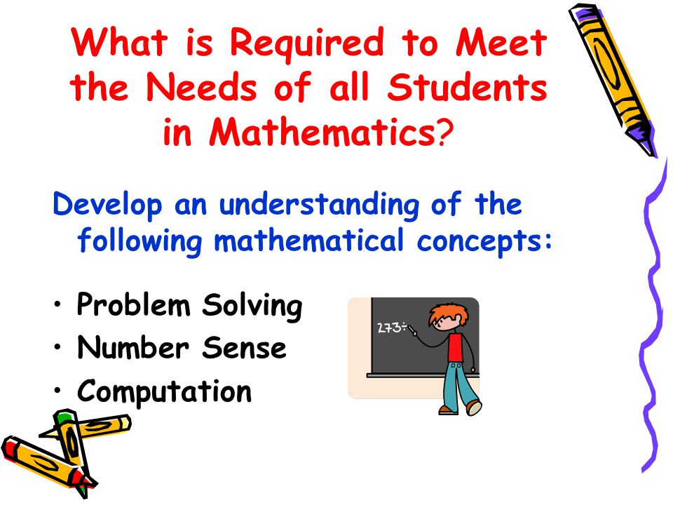What is Required to Meet the Needs of all Students in Mathematics.