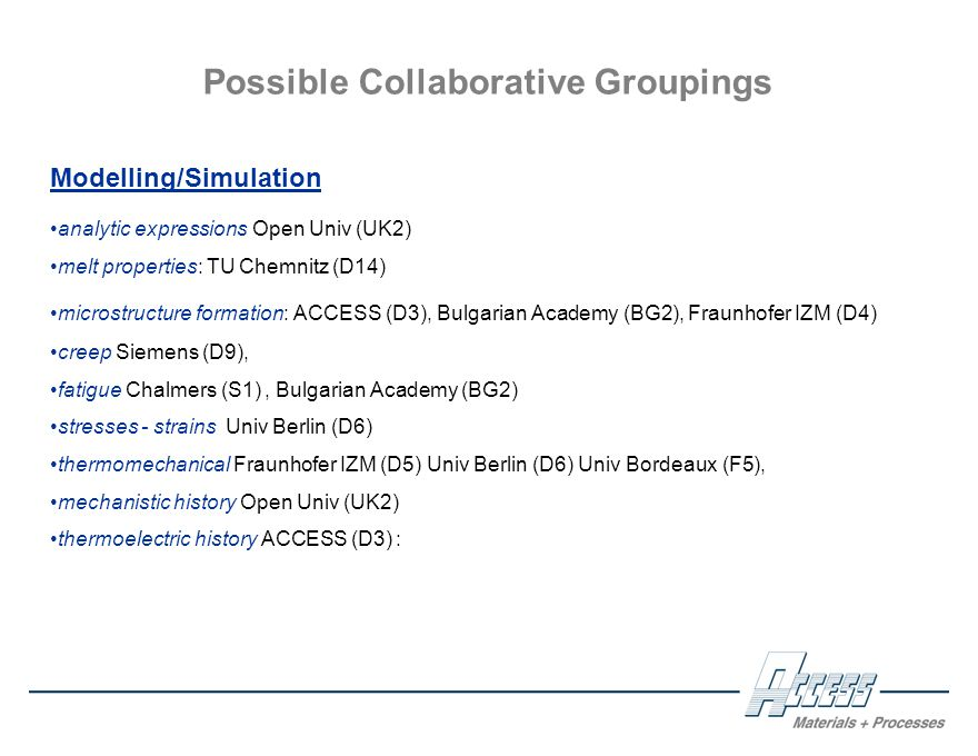 Possible Collaborative Groupings Modelling/Simulation analytic expressions Open Univ (UK2) melt properties: TU Chemnitz (D14) microstructure formation: ACCESS (D3), Bulgarian Academy (BG2), Fraunhofer IZM (D4) creep Siemens (D9), fatigue Chalmers (S1), Bulgarian Academy (BG2) stresses - strains Univ Berlin (D6) thermomechanical Fraunhofer IZM (D5) Univ Berlin (D6) Univ Bordeaux (F5), mechanistic history Open Univ (UK2) thermoelectric history ACCESS (D3) :