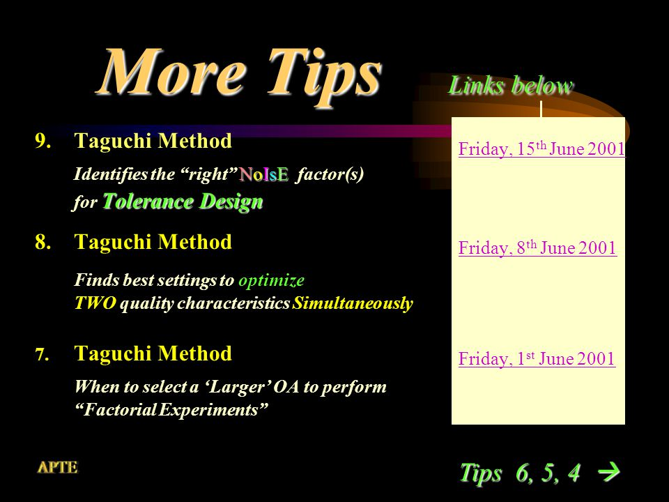 More Tips Links below 12.Taguchi Method inner outer inner L8 array with outer L4 and L9 NoIsE arrays 11.Taguchi Method ALL Life-stages Useful at ALL Life-stages of a Process or Product 10.Taguchi Method centering fine tuning Performs Process centering or fine tuning Friday, 6 th July 2001 Friday, 29 th June 2001 Friday, 22 nd June 2001 Tips 9, 8, 7 