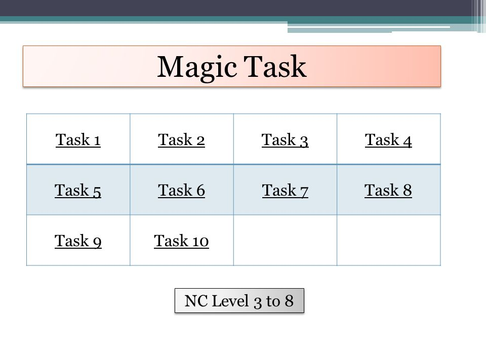 Magic Task Task 1Task 2Task 3Task 4 Task 5Task 6Task 7Task 8 Task 9Task 10 NC Level 3 to 8